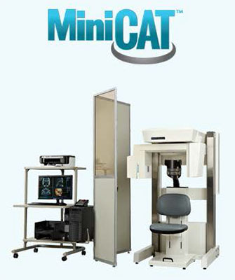 The Xoran MiniCAT is a compact, upright volume computer tomography system designed for high-resolution bone window imaging of the sinuses, temporal bones and skull base. MiniCAT